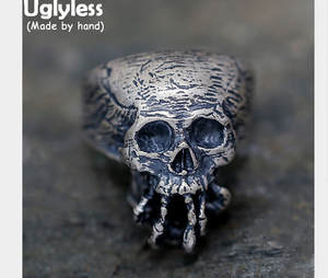 Uglyless Real 925 Sterling Silver Men Finger Ring Jewelry