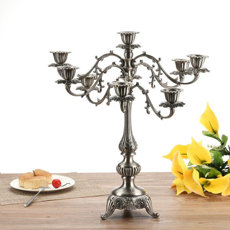 US Continental Candlestick Retro Ornaments Imitation Tin Candle Holders Long