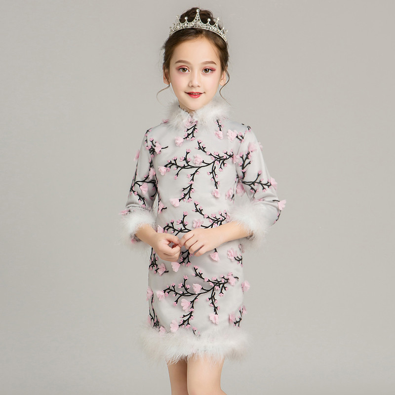 2018 Autumn Winter New Thick Children Girls Cheongsam Chinese Style Stand-Collar Dress Kids Baby Retro National Wind Qipao Dress 2017 autumn chinese style girl dress cotton short sleeve chinese cheongsam for kids baby girls qipao girls clothes