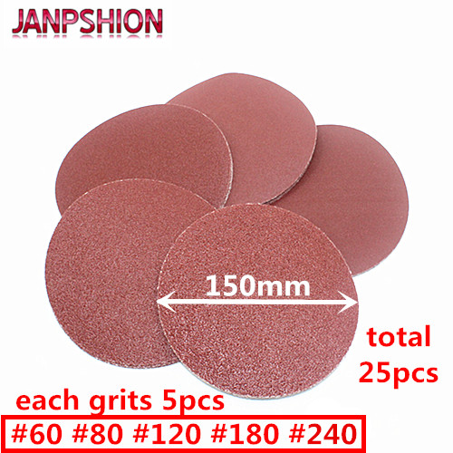 JANPSHION 25pc Sanding paper round Sandpaper Flocking Self-adhesive for Sander 6 150mm Grits 60 80 120 180 240JANPSHION 25pc Sanding paper round Sandpaper Flocking Self-adhesive for Sander 6 150mm Grits 60 80 120 180 240