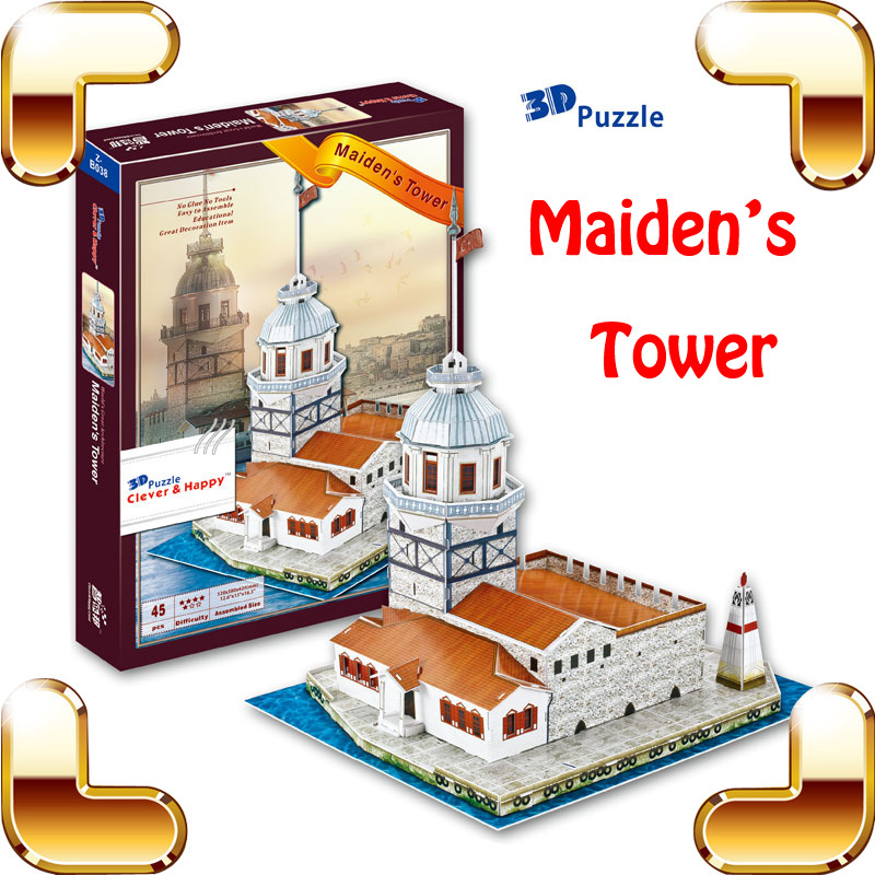 New DIY Gift Maiden's Tower 3D Puzzle Handwork Building Collection Education Toys Improve IQ Game Model Learn Space PUZ Present