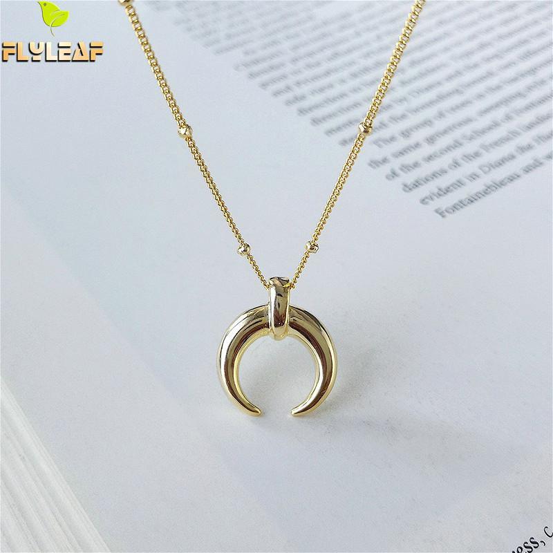 Flyleaf 18k Gold Mond Echt 925 Sterling Silber Halskette Für Frauen Mode Kette Feine Schmuck Crescent Perle Halsketten & anhänger