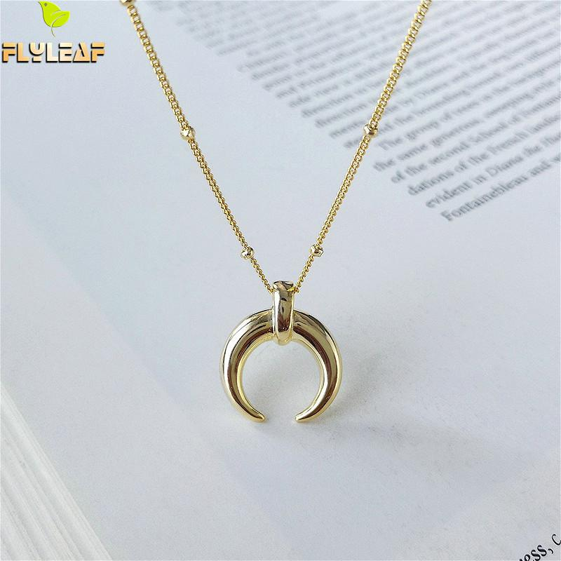 Flyleaf 18k Gold Moon Real 925 Sterling Silver Necklace For Women Fashion Chain Fine Jewelry Crescent Bead Necklaces & Pendants