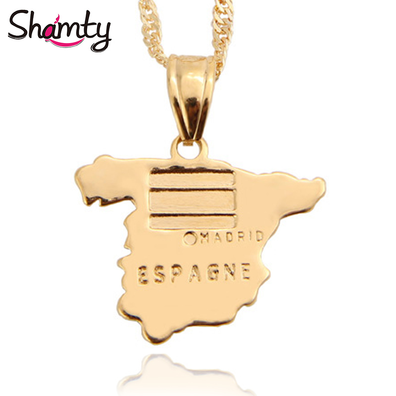 Spain Map Flag.Us 5 88 Shamty Unisex Spain Map Flag Pendants Necklace Map Pure Gold Color Chain Jewelry Spanish Gift Items In Pendant Necklaces From Jewelry