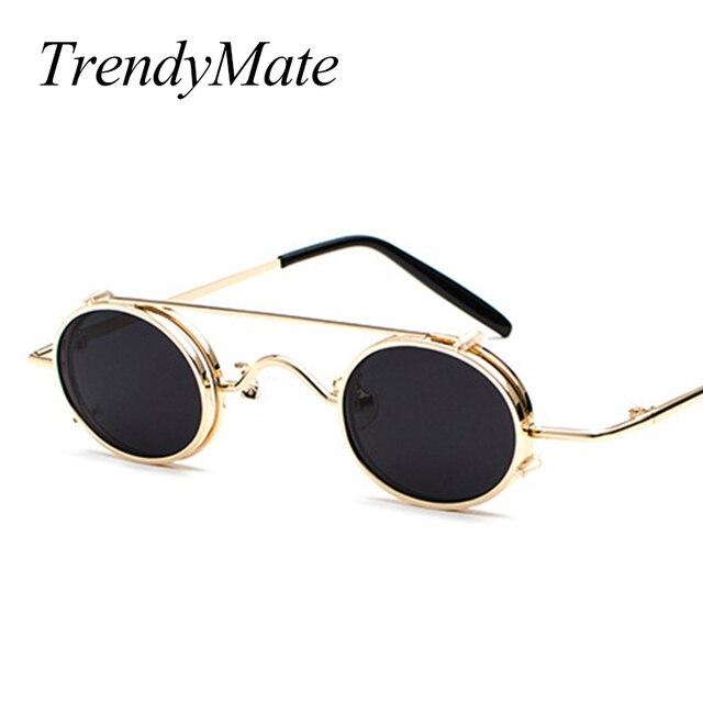 e0cf189bad Vintage Small Steampunk Goggles Oval Sunglasses Women Men Retro Gothic Sun  Glasses Gold Frame Eyewear Black