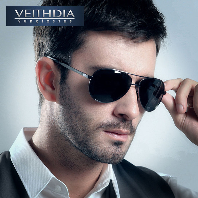 VEITHDIA UV400 Pilot Yurt Sun Glasses Men Polarized Sunglasses Brand Logo Design Driving Glasses Goggles Oculos de sol 1306