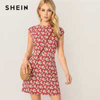 SHEIN Stehen Kragen Zip Zurück Ditsy Floral Fit Und Flare Kurz Dünnes Kleid Frauen Elegante Sommer Kurzarm Kleider
