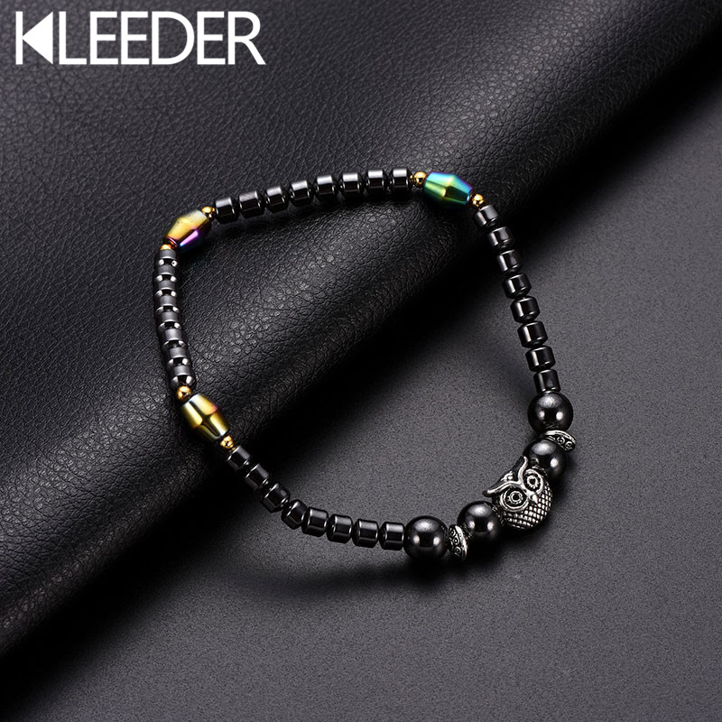 KLEEDER Magnetic Black Stone Anklet Owl Therapy Slimming Anklets for lady Weight Loss Health care Fashion Jewelry leg bracelets