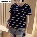 Summer Striped Tops Female Loose T-Shirts 2017 Women's Casual Cotton Top Short Sleeve Tee Shirt Black White