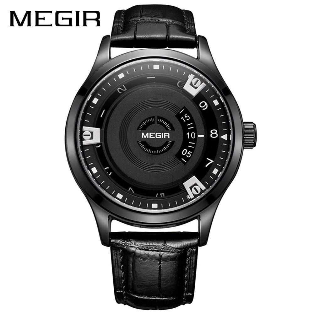 MEGIR 2017 New Men Watch Top Brand Luxury Leather Engraved Dial Military Watches Clock Male Erkek Kol Saati Relogios 1067