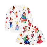 Mode lente kinderen casual set jas en skrit meisje cartoon fairy meisje patroon Past katoenen kleding 2 stks