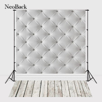 Fast Shipping 5x7ft Grey Tufted Leather Wall Wooden Floor Costume Portrait Studio Backdrop Customize Poly Vinyl