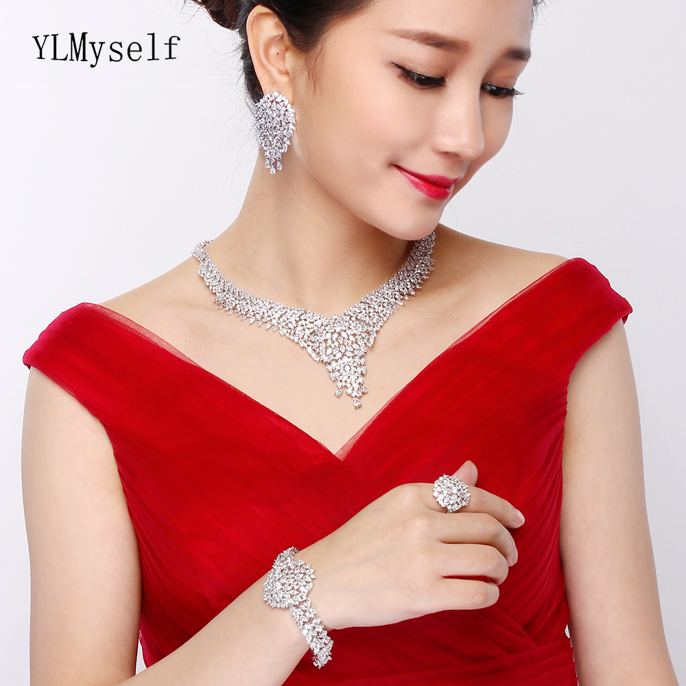 Luxury 4pcs jewelry set for party Necklace+Earrings+Bracelet+Resizable Ring CZ crystal White/ Gold color very large jewelry sets