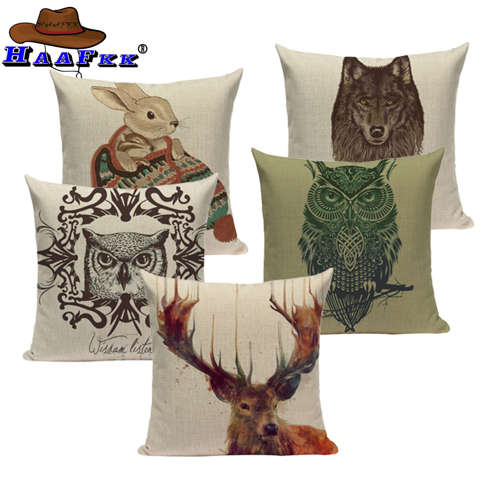 Top Sale Support Animal Series Textiles Lion Owl Rabbit Wolf Sofa Throw Pillow Cover Square Sofa Printing Pillow Cover in Cushion Cover from Home Garden