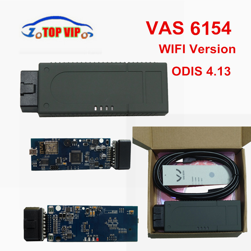 Newest VAS6154 Wifi VAS 6154 ODIS 4.13 OBD/OBDII diagnostic tools with OKI For A-u-di better than VAS5054 Support UDS Protocol 2016 newest wifi version vxdiag vcx nano for g m opel gds2 diagnostic tool better than tech2 scanner free shipping