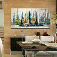 Hand painted decorative canvas pop art modern abstract oil paintings sailing boat for the sitting room adornment wall paintings