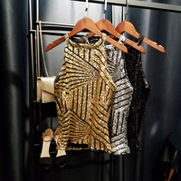 Women Camis Tank Tops Shiny Sequin Vest Bling Mesh Slim Chic Party Tops Sleeveless Tee Gold