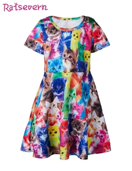Animal Cat Print Dress For Girls Funny Pattern Baby Girls Dress Elegant Princess Dress Casual Party Clothing For Teen Children Платье
