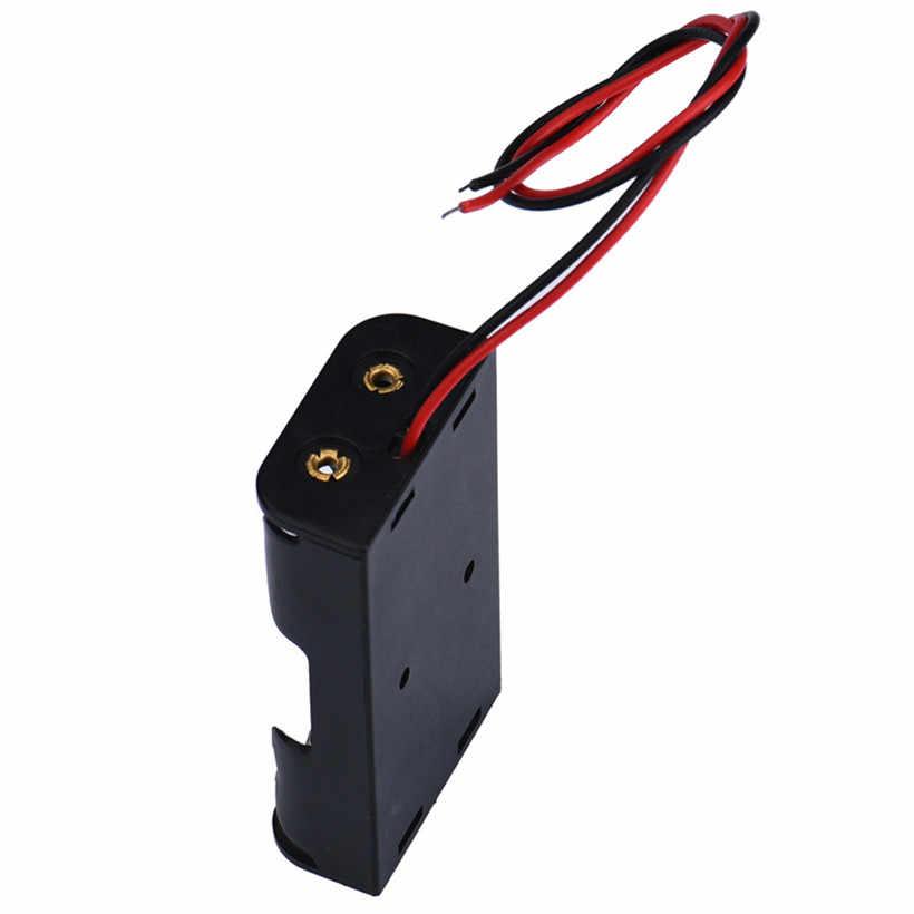 Soporte de caja para 2 x AA negro con cables de alambre caja de almacenamiento de batería de plástico Envío Directo 0616