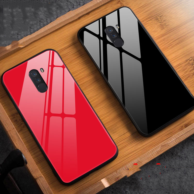 online store 5f901 34747 Global Version For Xiaomi PocoPhone F1 Glass Case Luxury TPU Soft  Frame+Glass Back Cover Accessory On Poco F1 Fundas Coque