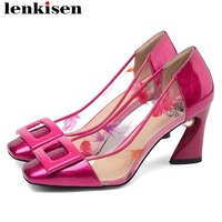 Lenkisen new arrival concise style high heels pearl buckle decoration classic square toe women pumps large size casual shoes L22