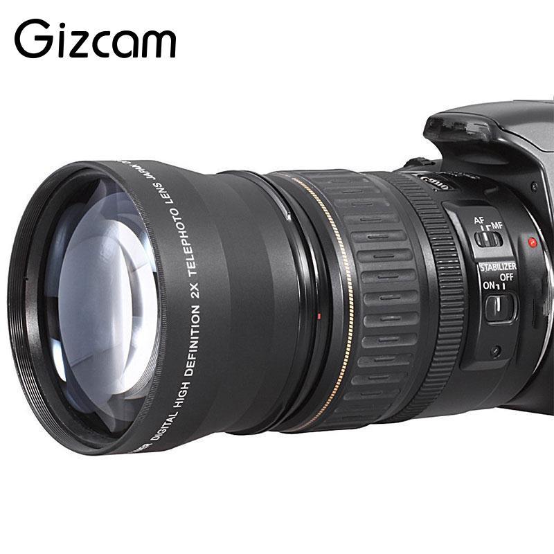 Gizcam Professionnel 52mm 2x Téléobjectif Convertisseur Pour Nikon D5100 D3200 D70 D40 DSLR Caméra Cam Télescopique Len