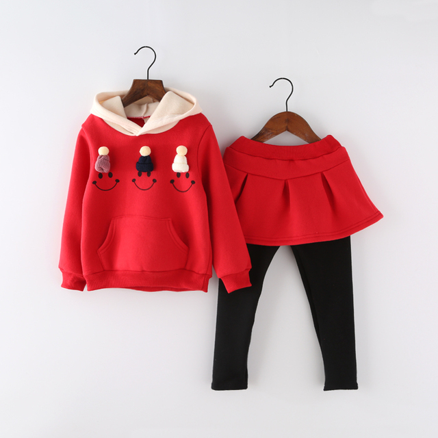 Fashion high quality cotton thicken pullover long sleeve shirt for girls to keep warm clothes set