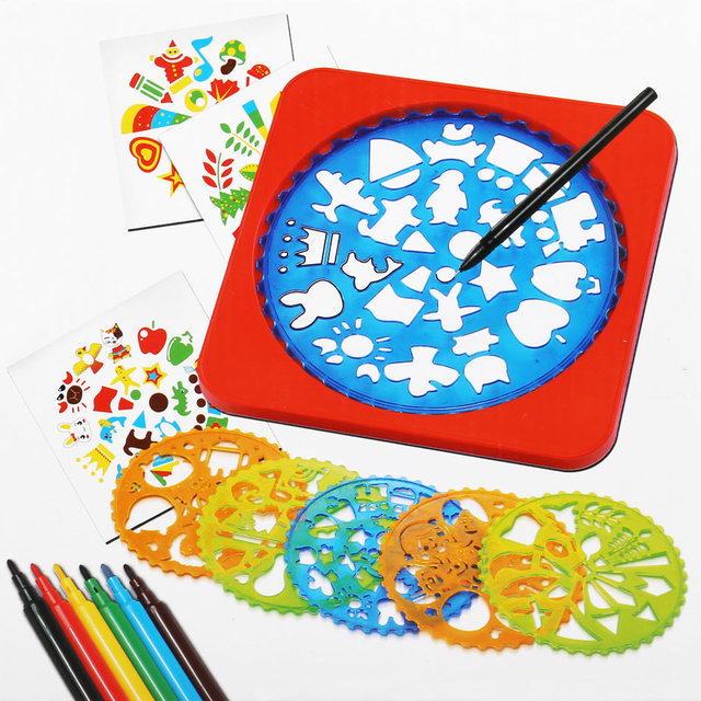 educational early childhood kids painting learning toys children 6 color plastic drawing stencils kit baby diy