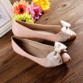 Lady's Plus sizes 4-12 Sweet Bow Patent leather pointed closed toe platform single Flats low heels women shoes summer style girl
