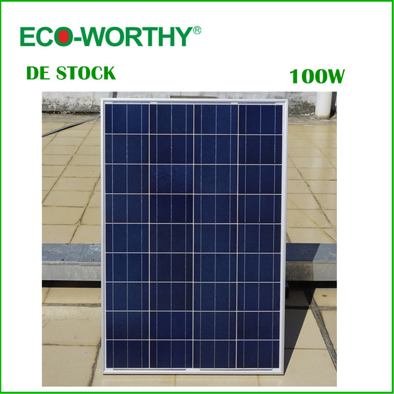 DE Stock No Tax 100W 18V Polycrystalline Solar Panel for 12v Battery Off Grid System Solar for Home System Free Shipping dc house usa uk stock 300w off grid solar system kits new 100w solar module 12v home 20a controller 1000w inverter
