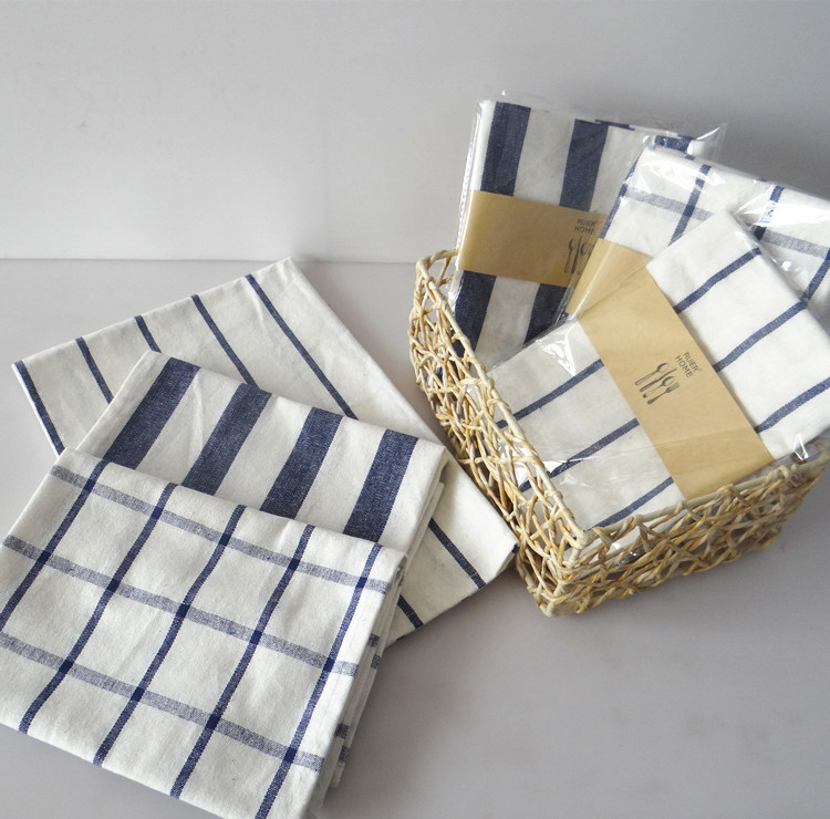 ④Средиземноморский синий плед полотенца и ткань салфеток ...