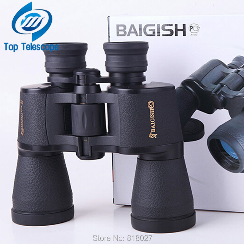 Baigish Binoculars 20X50 High quality wide angle Central Zoom Night Vision telescope golden type for hunting telescopio new fs 20x50 high quality hd wide angle central zoom portable binoculars telescope night vision telescopio binoculo freeshipping