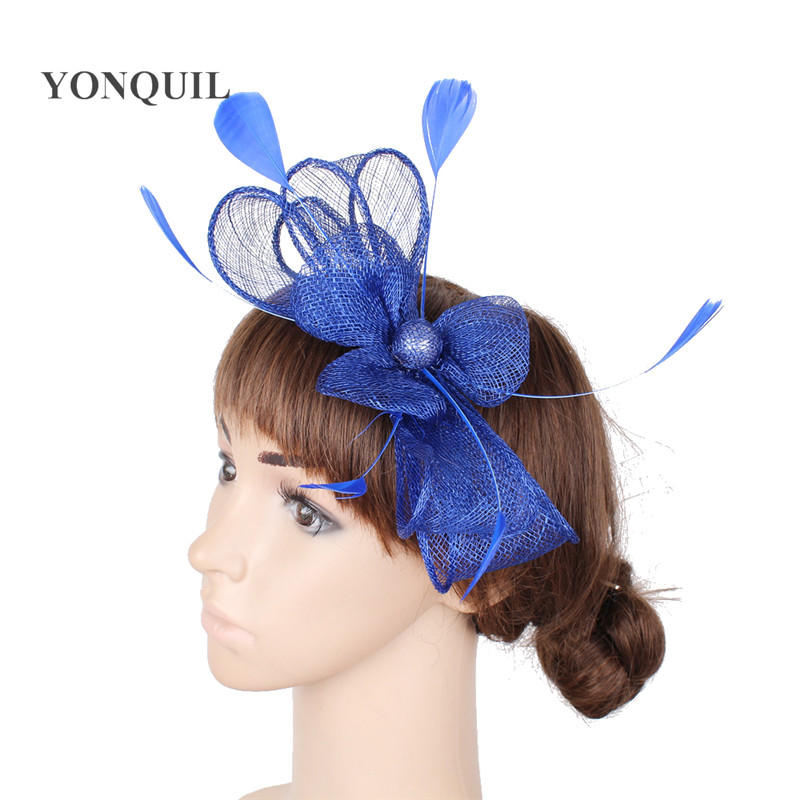 Charming Sinamay Royal Blue Ladies Fashion Fascinator Hat Hair Fancy Feather Accessories Cocktail Party Wedding Headwear MYQ093