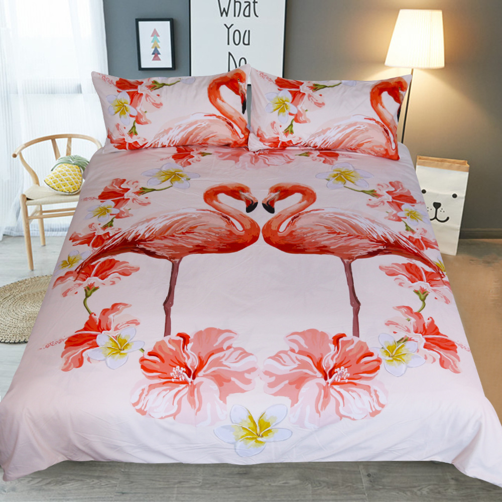 Quilt Cover King Us 14 42 28 Off Flamingo Bedding Set Cotton Red Flowers Plant Quilt Cover King Size Home Bed Set Flower Print Pink And White Bedclothes 3pcs In