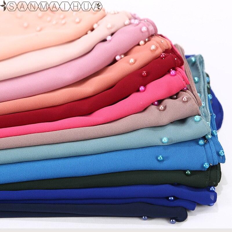 2019 Women Muslim Bubble Chiffon Hijab Scarf Pearls Foulard Femme Musulman Plain Hijabs Shawls Wrap Islamic Headscarf Clothing