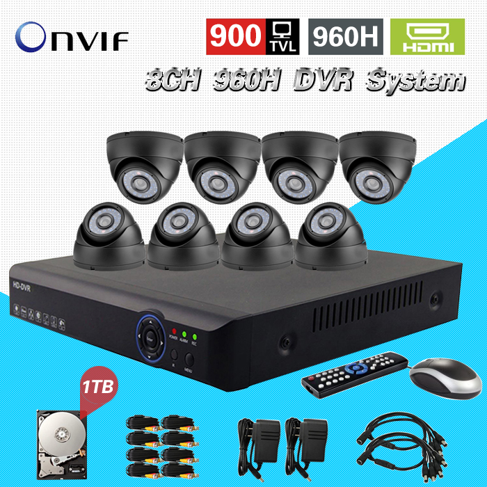 CCTV 8ch System AHD-L Surveillance Kit 8 channel 960h dvr 900TVL IR cut camera Kit 1tb hdd HDMI 1080P NVR HVR ip camera ipanema ipanema ip124awhtx19