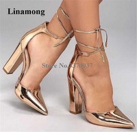 Linamong Fashion Women Pointed Toe Chunky Heel Pumps Lace up Gold Black Blue Thick Super High Heels Formal Dress Shoes
