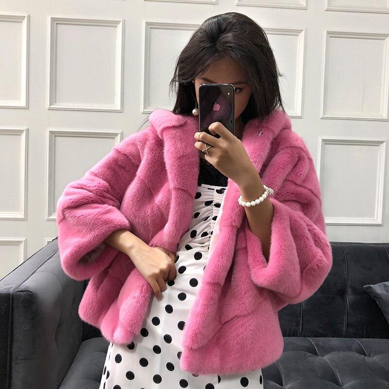 Натуральный мех пальто двусторонний норковые шубы Осенне зимнее пальто женская одежда 2018 корейский Винтаж куртка Manteau Femme Hiver MY957