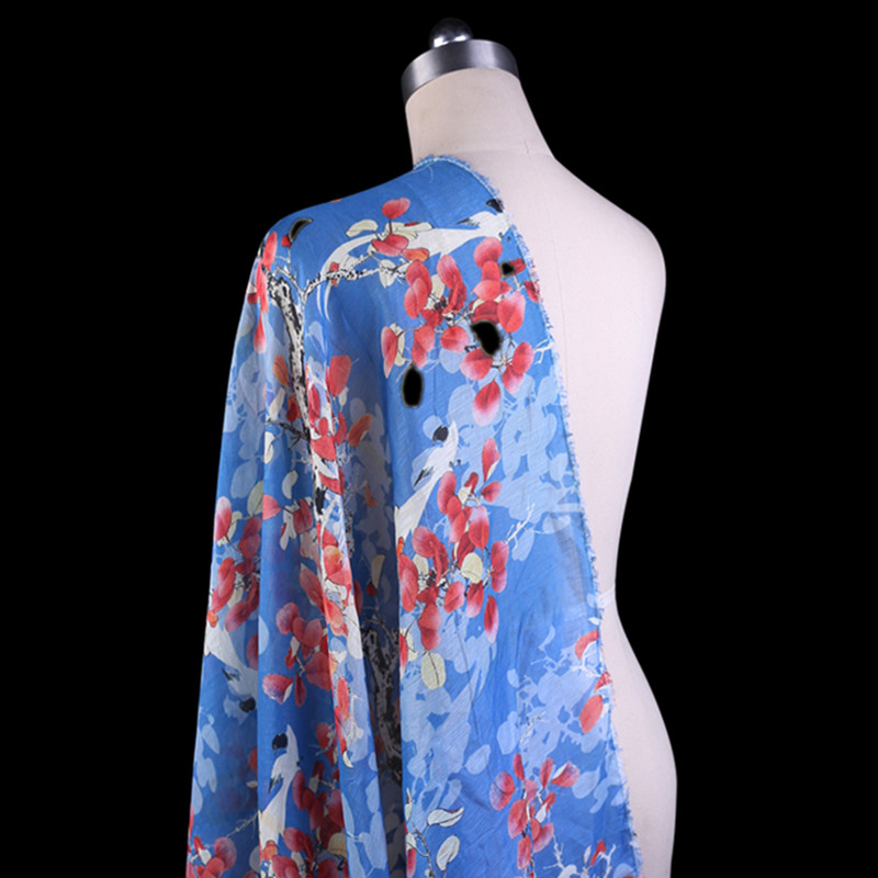 SLK16 50X140CM Blue Red Florals Summer Silk Fabric Cotton Fabric For Women Dress 2018 Si ...