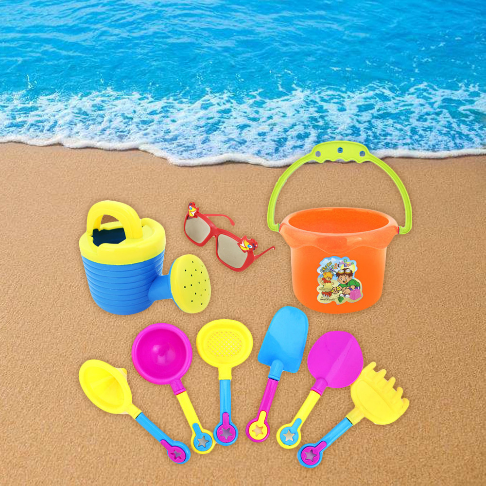 9pcs Funny Kid Beach Sand Game Sandbeach Toys Set Including Spade Shovel Rake Hourglass Bucket Watering Can Water Beach Tools