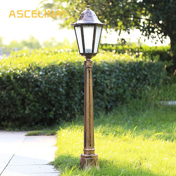ASCELINA Antique Garden Light led garden lights outdoor lighting decoration waterproof street light Lawn Lamps Iron E27 85-260V otomatik çadır
