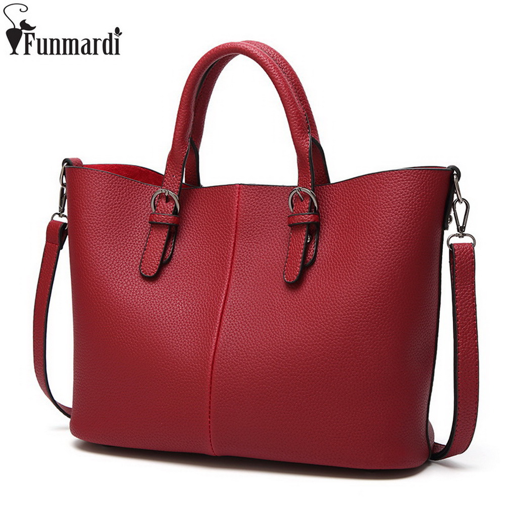 FUNMARDI Vintage Oil Wax Leather Bag Large Capacity Women Handbag New Fashion Simple Tote Bag High Quality Shoulder Bag WLAM0037