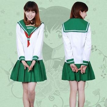Anime Inuyasha Kagome Higurashi Cosplay Disfraces Niñas Uniforme Escolar Conjunto (Top + Falda + Bufanda) Trajes de Marinero