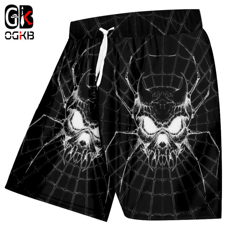 OGKB Man Hiphop Hoge Taille Knielengte Boxers Broek Nieuwe Zomer heren Cool Print Spider Skull 3d Strand Board shorts Outwears
