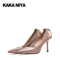 Bow Pumps Patent Leather Thin Pink Size 4 34 Autumn Japanese 2017 Women Pointed Toe Strap