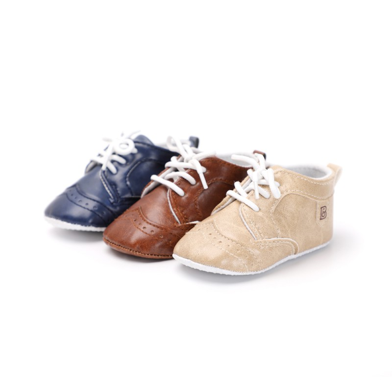 Spring Autumn Lace-Up Baby Shoes Indoor Shoes Toddler Soft Sole Shoes Walking Crib Shoes First Walkers