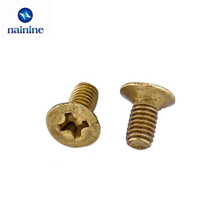 50Pcs DIN965 GB819 M3*6 Brass Cross Countersunk Screws Flat Head Machine Screw HW065 100pcs brass flat head screw m2 m2 5 m3 brass cross recessed countersunk head machine screws