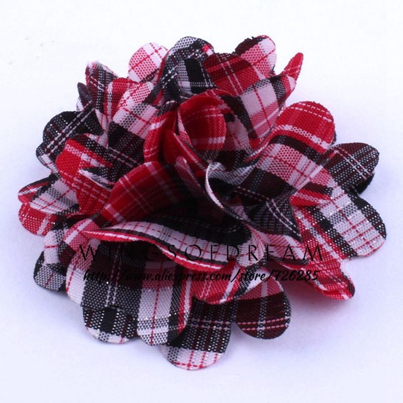 (50pcs/lot)2 12 Colors Lattice Layered Flowers For Headwear Classic Fabric Strip Flower For Baby Gilrs Hair Accessory