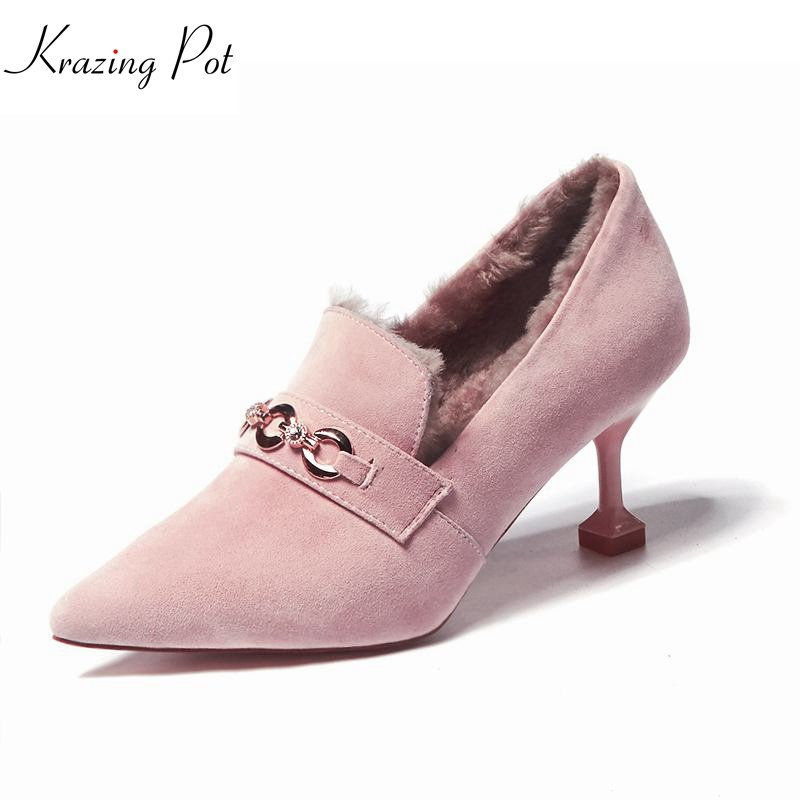 KRAZING POT plush metal decoration cow suede brand shoes high heels women pumps pointed toe winter slip on party style shoes L91 newest flock blade heels shoes 2018 pointed toe slip on women platform pumps sexy metal heels wedding party dress shoes
