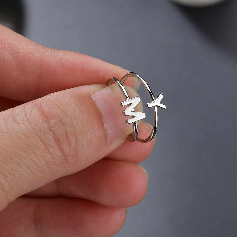 רומנטי A-Z מכתב טבעות פתוח אצבעות נחושת טבעת לחתוך AAA CZ ראשי תיבות שם אלפבית צד נשי אישית המפלגה תכשיטים